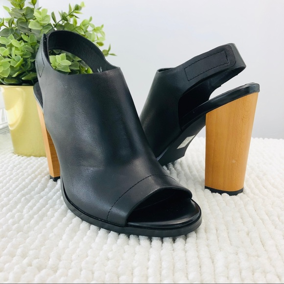 a283ffc1898e Audrey Brooke Shoes - Audrey Brooke black booties peep toe chunky heel